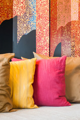 Pillows with Thai pattern background