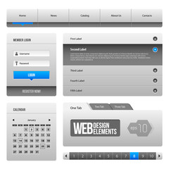 Modern Clean Website Design Elements Grey Blue