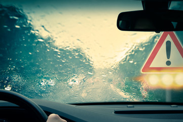 Bad weather driving - Caution