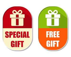 special and free gift with present box sign, two elliptical labe