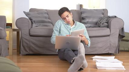 Hispanic businessman working from home