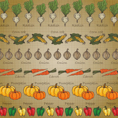 Background of vegetables in vintage tone