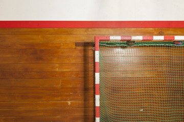 Retro indoor gymnasium goal