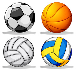 Different balls used in sports