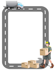 A border design with a delivery truck and a delivery man