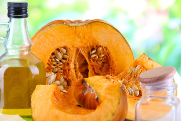 Cut pumpkin with ingredients for cooking