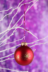 Christmas toy hanging on branch on purple background
