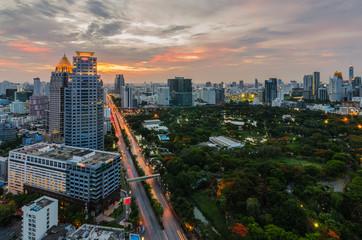 Sunset in Bangkok with Lumpini park