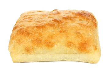 Single ciabatta bun isolated on a white background