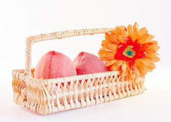 Peaches in the basket.