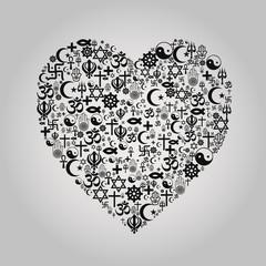Religions Heart Shape