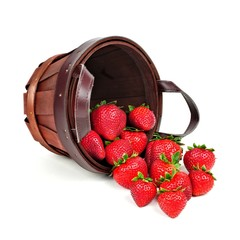 Spilling harvest pail of strawberries over a white background