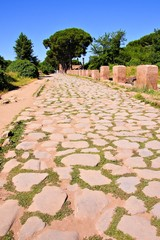Ancient Roman road through Ostia Antica, Rome, Italy