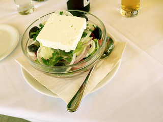 Feta cheese Greek Salad in Skala Kalloni Lesvos Greece
