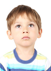 Cute little boy on light background
