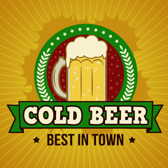 Cold larger beer retro poster