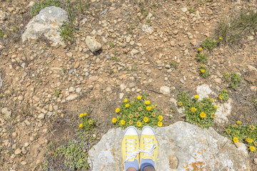 Yellow shoes matching flowers color