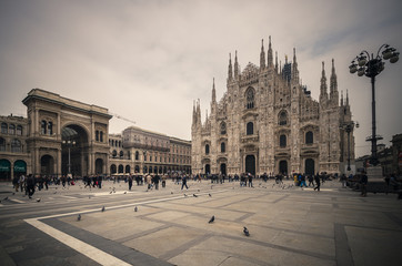 Vintage looking Duomo di Milano gothic cathedral church, vintage