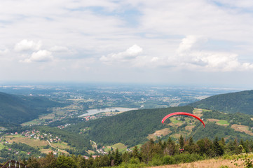 Paraglider in Little Beskids Mountains