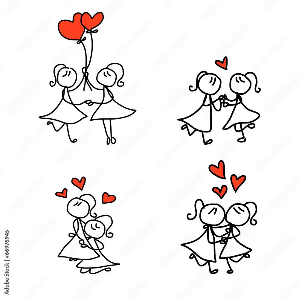 Hand Drawing Cartoon Happy Couple Wedding Wall Sticker | Wall Stickers for Couple Sticker Line  111bof
