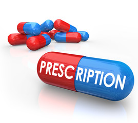 Prescription Word Pills Capsules Prescribed Medicine Treatment