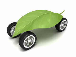 Eco friendly car isolated on white background