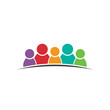 Five people friends. Group of persons. Vector icon