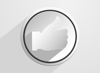 Thumb up like icon on a gray background