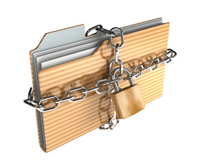 Folder icon set series. folder surrounded by chains with metal l