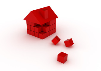 Housing construction And Real Estate industry builders with red