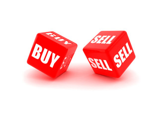 "Photo-real illustration of Two red dice engraved with ""Buy"", ""Se"
