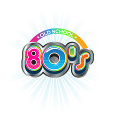 Old School 80s Vintage sign. Vector Color design