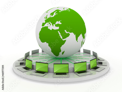 canvas print picture global computer network