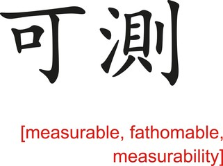 Chinese Sign for measurable, fathomable, measurability