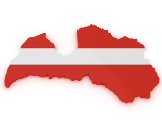 Latvia 3d map