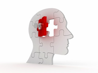 Head with a puzzle and key. 3D image Psychological Concept