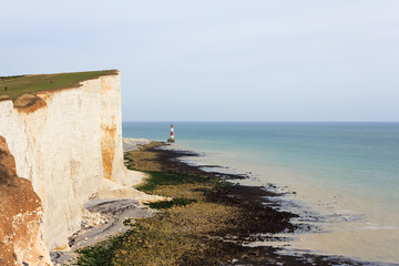 Chalk headland and lighthouse at Beachy Head in Southern England