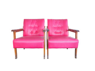 Twin pink old sofa chair
