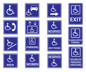 Handicap signs with wheelchair