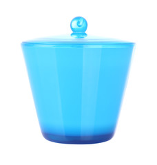 Front of blue plastic jar with cover on white background.