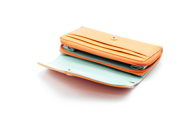Orange wallet without cash