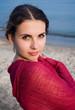 Young boho girl on a beach