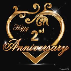 2 year anniversary golden heart design card