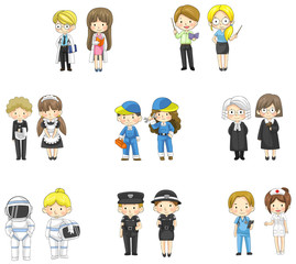 Cartoon characters in both man and woman in various professional