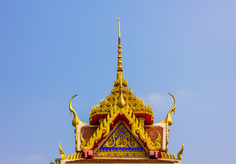 The beautiful temple roof and blue sky