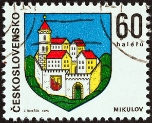 Coat of arms of Mikulov town (Czechoslovakia 1973)