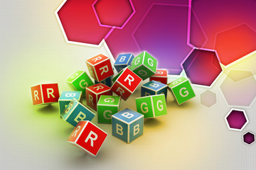 3D Colored Cube Alphabet