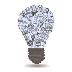 Lightbulb with sketch inside