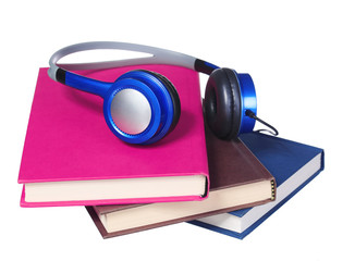 Audiobook concept. Headphones and books isolated