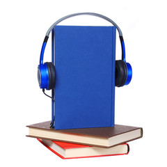 Audiobook concept. Headphones and books isolated on white